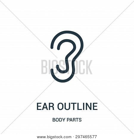 Ear Outline Icon Isolated On White Background From Body Parts Collection. Ear Outline Icon Trendy An