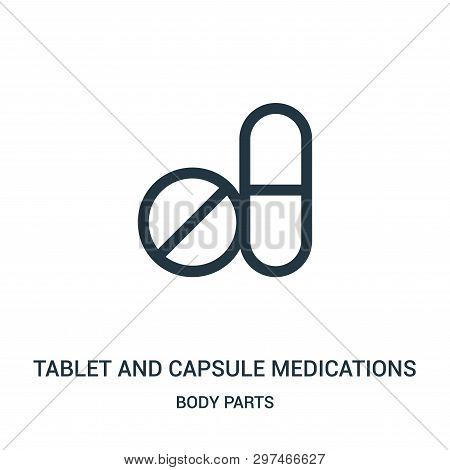 Tablet And Capsule Medications Icon Isolated On White Background From Body Parts Collection. Tablet