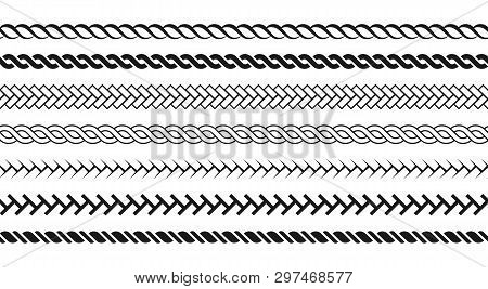 Ropes Pattern Brushes. Seamless Nautical Rope And Chain Stripes Isolated On Background. Braids And P