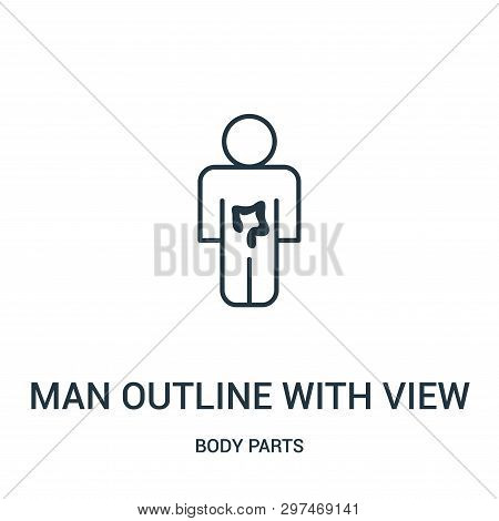 Man Outline With View Of The Intestine Icon Isolated On White Background From Body Parts Collection.