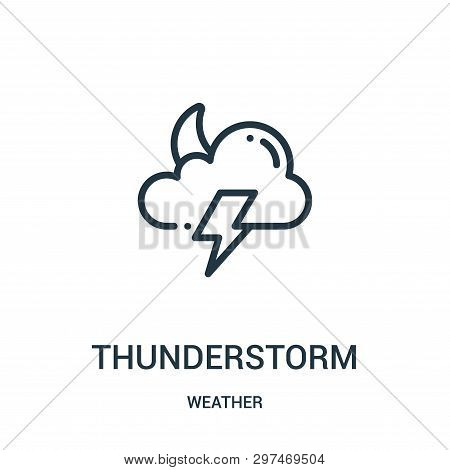 Thunderstorm Icon Isolated On White Background From Weather Collection. Thunderstorm Icon Trendy And