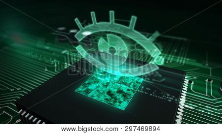 Cyber Surveillance Concept With Spy Eye Hologram Over Working Cpu In Background. Circuit Board 3d Il
