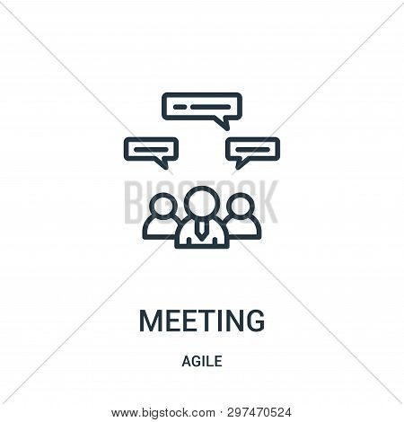 Meeting Icon Isolated On White Background From Agile Collection. Meeting Icon Trendy And Modern Meet
