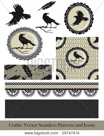 Ornate gothic vector elements for creating fabulous goth or Halloween textiles or craft projects.