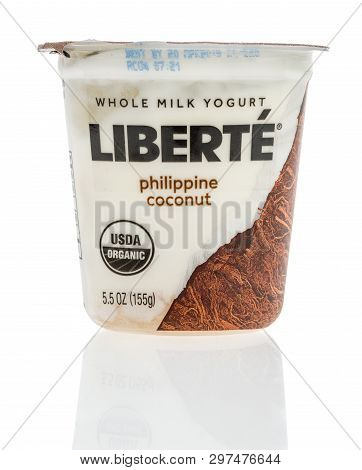 Winneconne, Wi -  22 April 2019: A Package Of Whole Milk Liberte Yogurt On An Isolated Background
