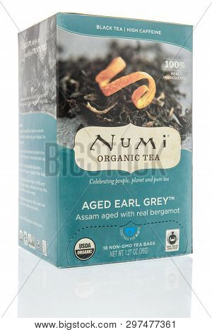 Winneconne, Wi -  22 April 2019: A Package Of Numi Organic  Aged Earl Grey Tea  On An Isolated Backg
