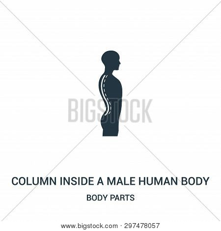 Column Inside A Male Human Body Silhouette In Side View Icon Isolated On White Background From Body
