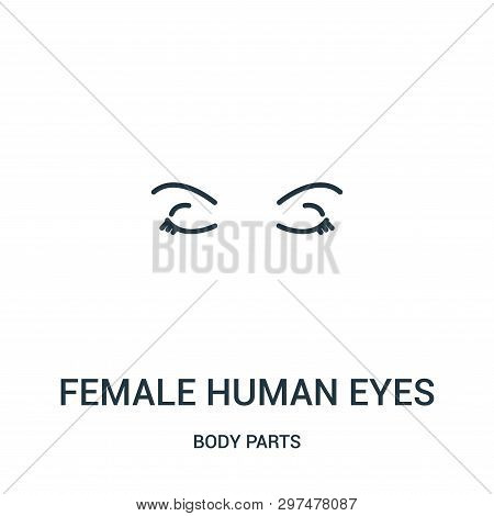 Female Human Eyes Icon Isolated On White Background From Body Parts Collection. Female Human Eyes Ic