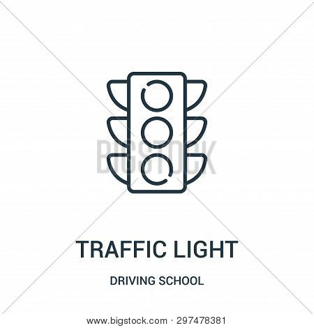 Traffic Light Icon Isolated On White Background From Driving School Collection. Traffic Light Icon T