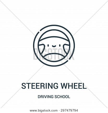 Steering Wheel Icon Isolated On White Background From Driving School Collection. Steering Wheel Icon