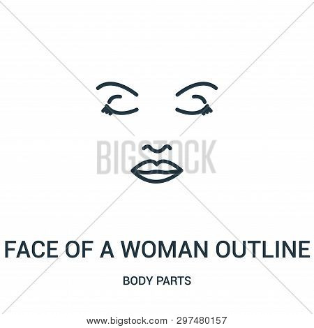 Face Of A Woman Outline Icon Isolated On White Background From Body Parts Collection. Face Of A Woma