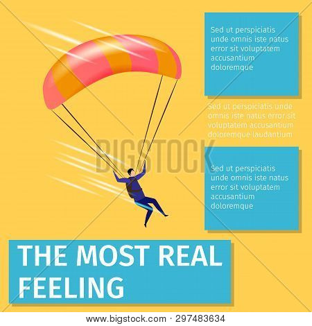 The Most Real Feeling Square Banner With Copy Space. Xtreme Sport. Man Soaring With Parachute. Extre