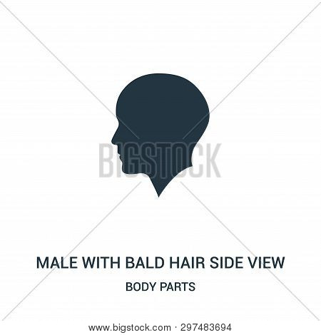 Male With Bald Hair Side View Icon Isolated On White Background From Body Parts Collection. Male Wit
