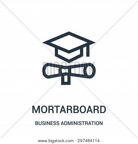 Mortarboard Icon Isolated On White Background From Business Administration Collection. Mortarboard I