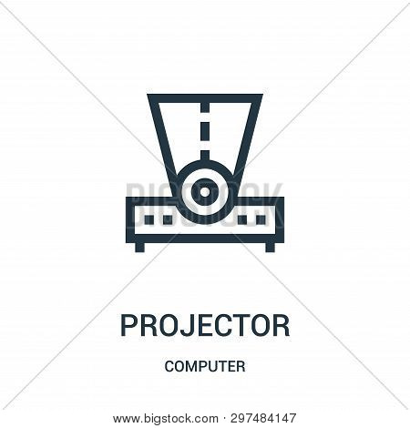 Projector Icon Isolated On White Background From Computer Collection. Projector Icon Trendy And Mode