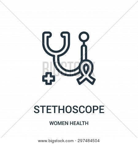 Stethoscope Icon Isolated On White Background From Women Health Collection. Stethoscope Icon Trendy