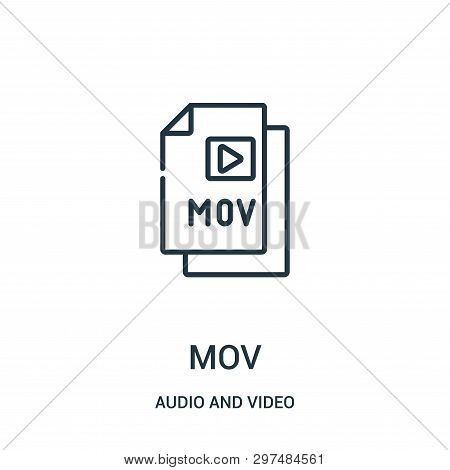 Mov Icon Isolated On White Background From Audio And Video Collection. Mov Icon Trendy And Modern Mo