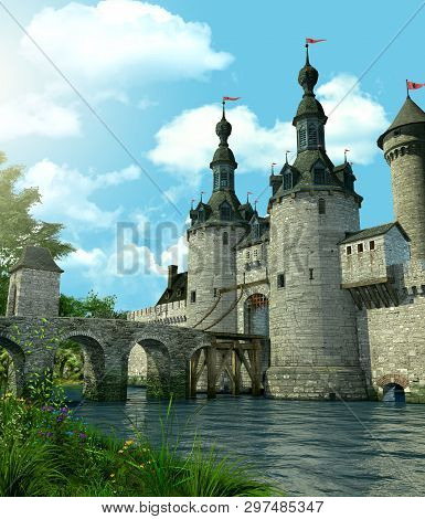 3d Rendering Of A Romantic Fairytale Castle In An Idyllic Landscape Framed By Trees And Protected By