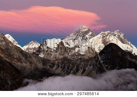 Evening Sunset View Of Mount Everest And Lhotse From Gokyo Valley. Three Passes And Mt Everest Base