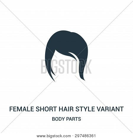 Female Short Hair Style Variant Icon Isolated On White Background From Body Parts Collection. Female