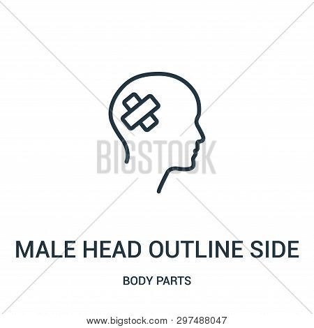 Male Head Outline Side View With Medical Tape Icon Isolated On White Background From Body Parts Coll