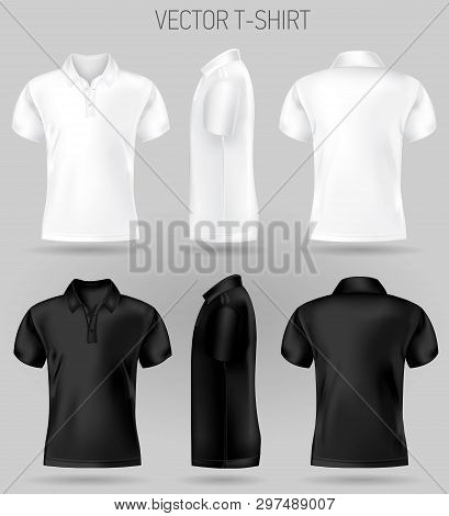 Black And White Short Sleeve Polo Shirt Design Templates Front, Back, And Side Views . Vector T-shir