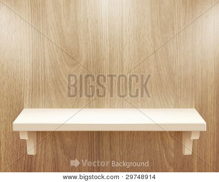 3d isolated Empty shelf for exhibit on wood background. Vector illustration.