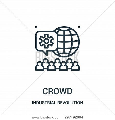 Crowd Icon Isolated On White Background From Industrial Revolution Collection. Crowd Icon Trendy And