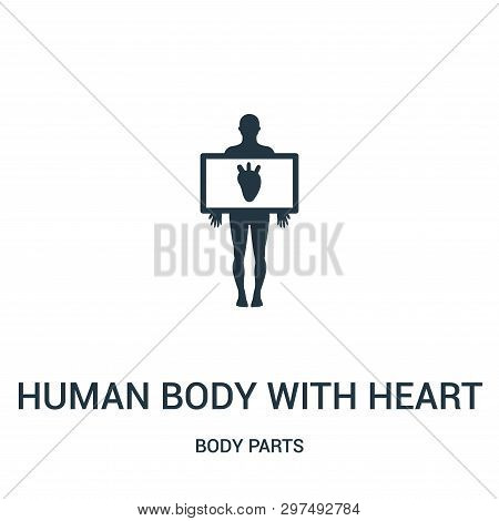 Human Body With Heart Silhouette Icon Isolated On White Background From Body Parts Collection. Human