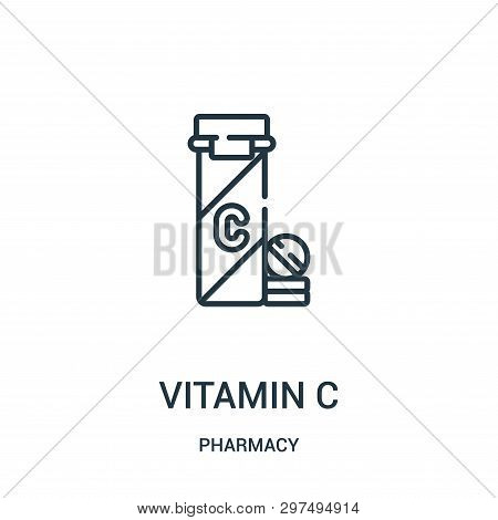 Vitamin C Icon Isolated On White Background From Pharmacy Collection. Vitamin C Icon Trendy And Mode
