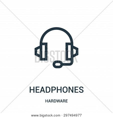 Headphones Icon Isolated On White Background From Hardware Collection. Headphones Icon Trendy And Mo