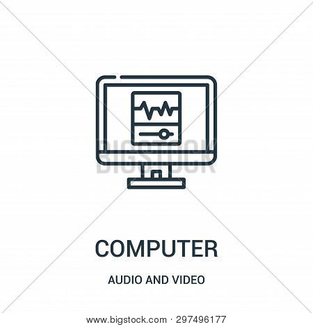 Computer Icon Isolated On White Background From Audio And Video Collection. Computer Icon Trendy And