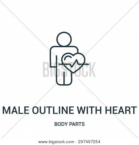 Male Outline With Heart Shape And Lifeline Icon Isolated On White Background From Body Parts Collect