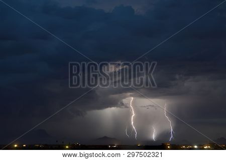 Monsoon Lightning Storm Moving Across The Gila Bend Mountains In Arizona During The 2017 Monsoon Sea