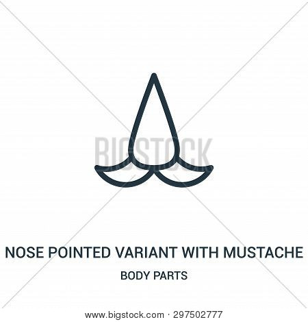 Nose Pointed Variant With Mustache Icon Isolated On White Background From Body Parts Collection. Nos