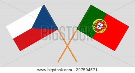 Portugal And Czech Republic. The Portuguese And Czech Flags. Official Colors. Correct Proportion. Ve