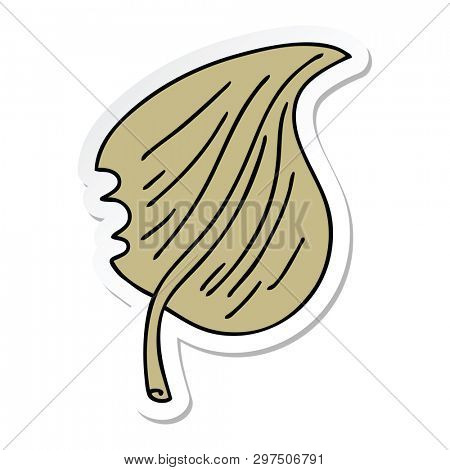 sticker of a quirky hand drawn cartoon munched leaf poster