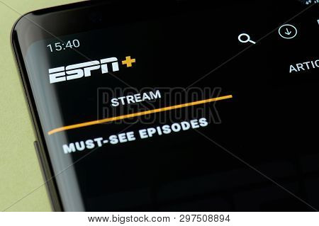 New York, Usa - April 22, 2019: Streaming Video On Espn Interface On Smartphone Screen