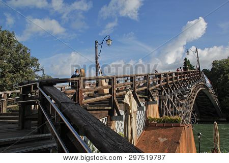 Venice, Italy - September 04,2017: Beautiful Ponte Dell` Accademia Bridge At Venice City In The Blue