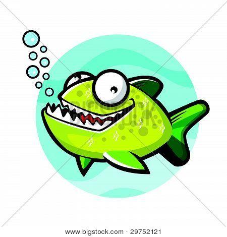 Cartoon Green Piranha