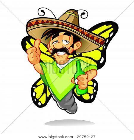 Cartoon Sombrero Drunken Butterfly
