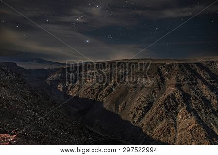 Stellar Night View Of Old Tom Lookout, A Feature Within Death Valley, California.