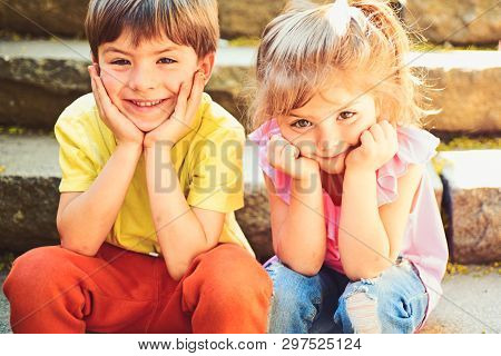 Best Friends, Friendship And Family Values. Couple Of Little Children. Boy And Girl. Summer Holiday