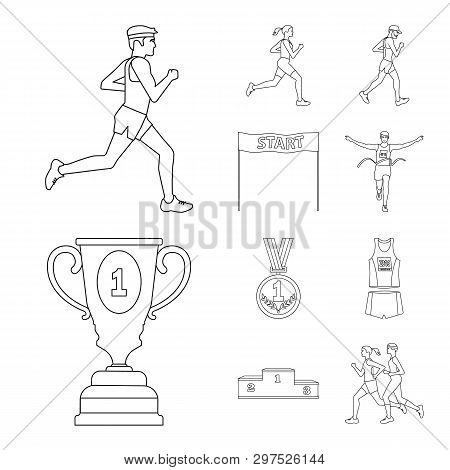 Vector Illustration Of Exercise And Sprinter  Sign. Set Of Exercise And Marathon Vector Icon For Sto