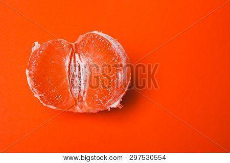 Grapefruit, Vagina Symbol On Orange Background