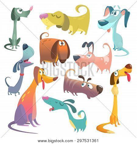 Cartoon Dogs Set. Vector Illustrations Of Dogs.  Retriever, Dachshund, Terrier, Pitbull, Spaniel, Bu