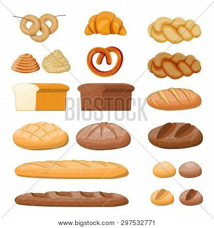 Big Bread Icons Set. Whole Grain, Wheat And Rye Bread, Toast, Pretzel, Ciabatta, Croissant, Bagel, F