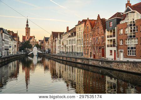 Bruges, Belgium - Oct 5, 2018. Old Buildings In Bruges, Belgium. Bruges (brugge) Is Belgium Most Per