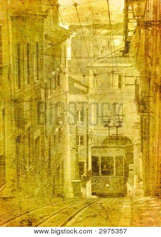 Vintage Image Of Traditional Lisbon Tram
