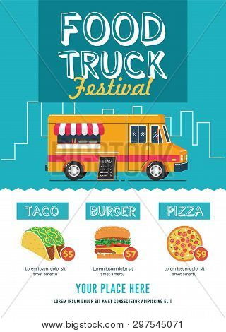 Food Festival Flyer Template With Food Truck Illustration